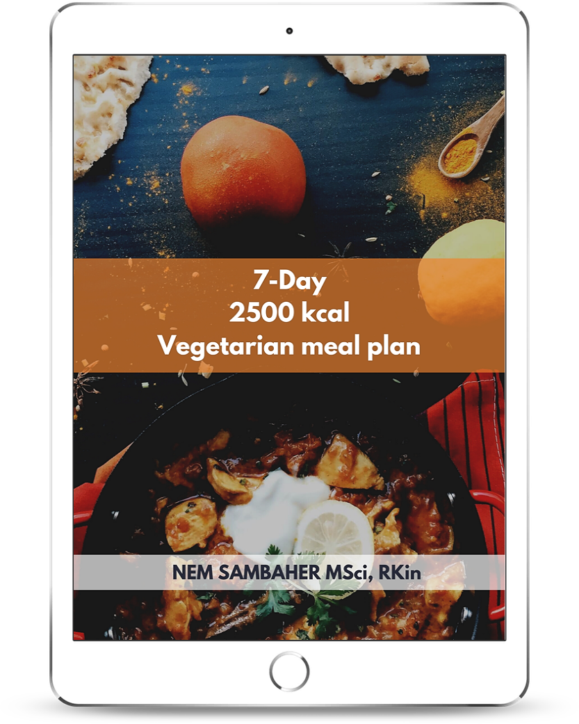 2500 kcal vegetarian meal plan